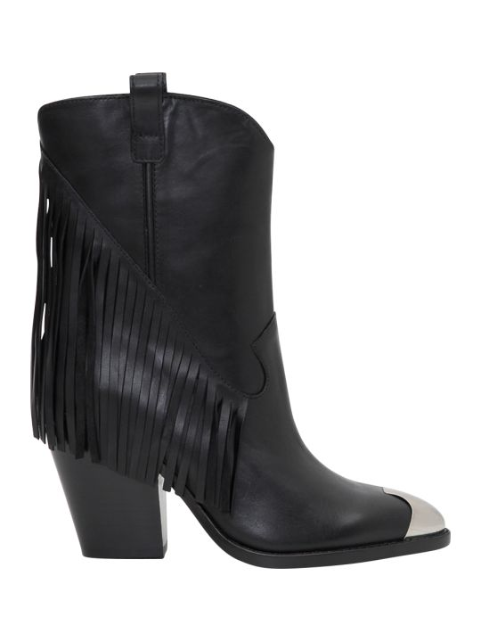 Ash Texan Boot With Fringe And Silver Metal Toe
