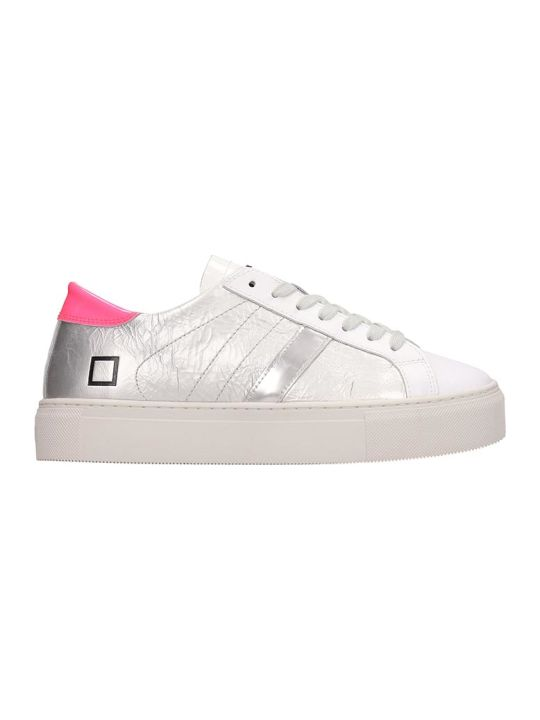 D.A.T.E. White Silver Leather Hill Low Sneakers