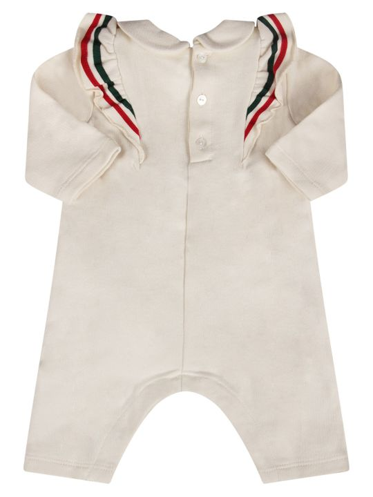Gucci Ivory Babygirl Babygrow With Bow