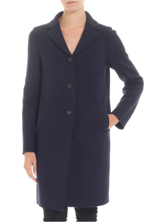 Harris Wharf London Blue Virgin Wool Coat