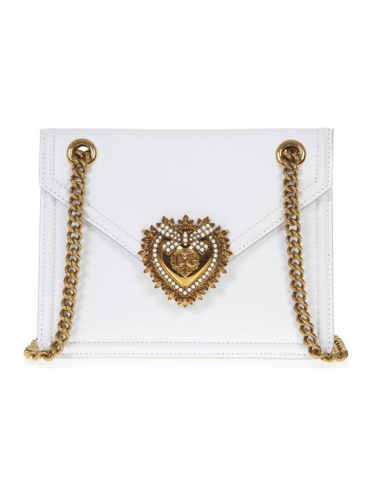 Dolce & Gabbana White Medium Devotion Bag In Smooth Calfskin Leather
