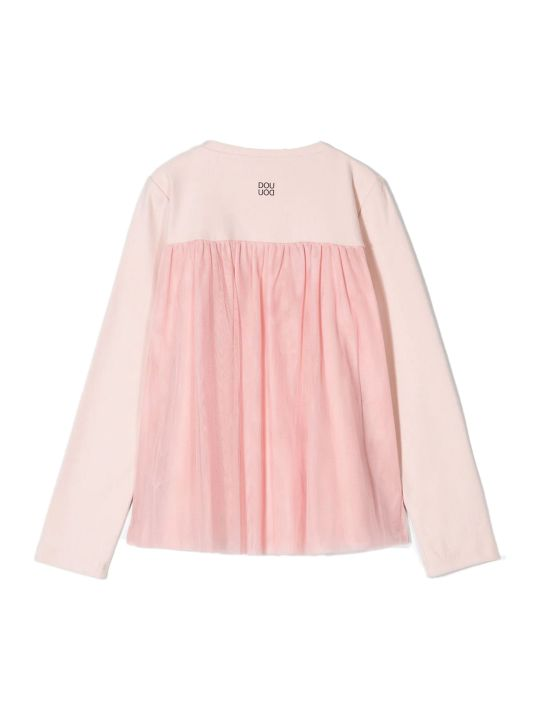 Douuod Pink Stretch Cotton Round Neck Relaxed-fit Cardigan