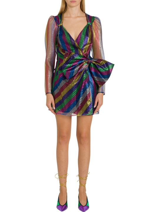 The Attico Multicoloued Laminated Tulle Dress With Bow