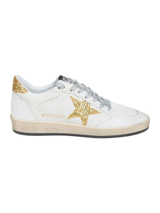 Golden Goose Ball Star Sneakers In White Leather With Glitter Details