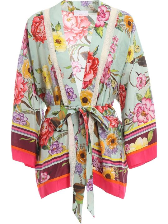 Parosh P.a.r.o.s.h. Habutay Printed Kimono