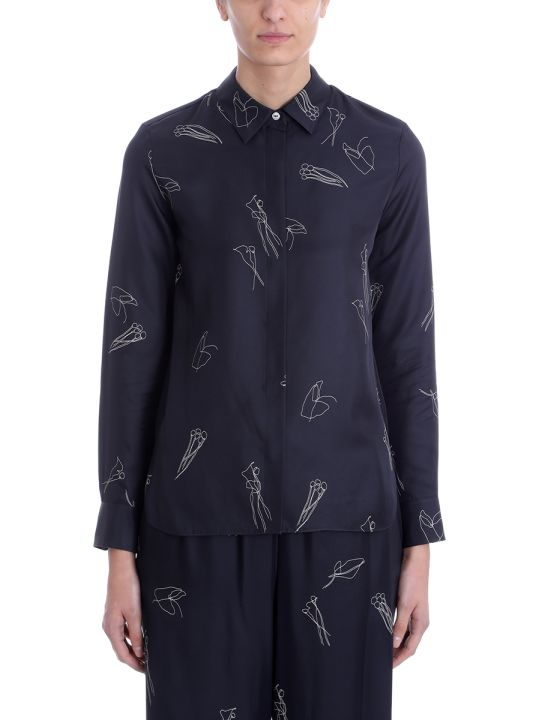Theory Black Silk Concealed Front Shirt