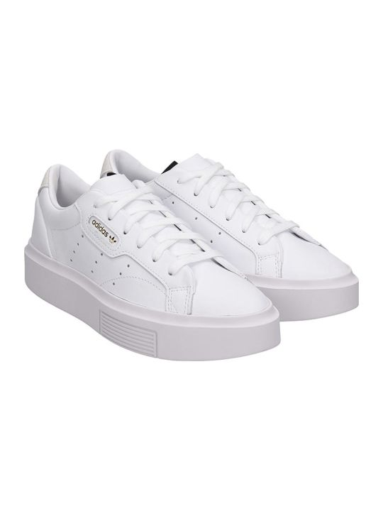 Adidas Sleek Sup Sneakers In White Leather
