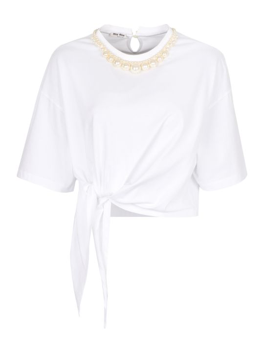 Miu Miu Cotton Crew-neck T-shirt