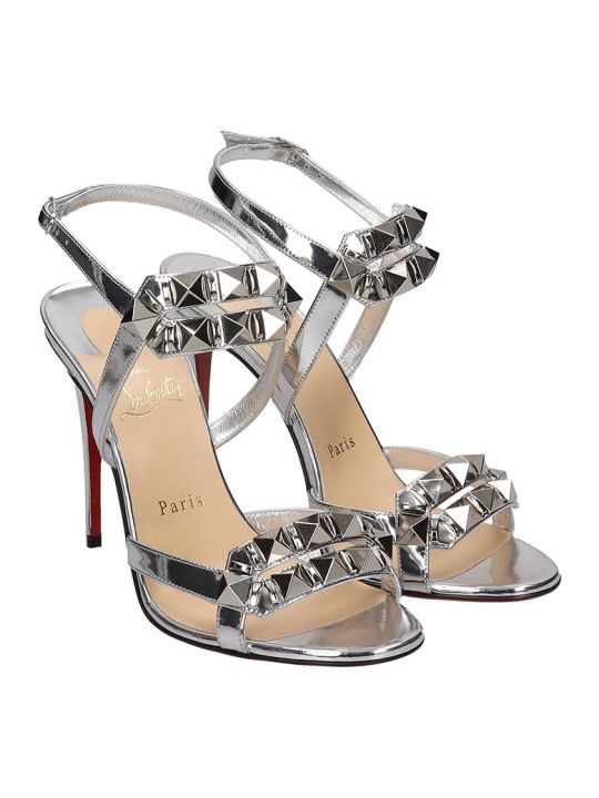 Christian Louboutin Galerietta 100 Sandals In Silver Leather