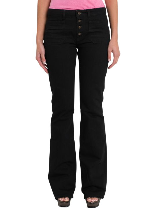 Saint Laurent Flared Jenas With Patch Pockets And