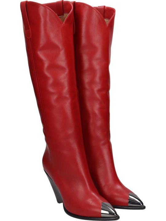 The Seller Low Heels Boots In Red Leather