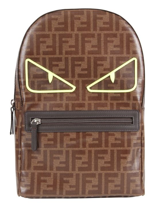 Fendi Brown Boy Backpack With Doible Ff