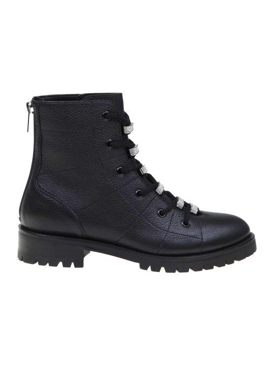 Jimmy Choo Anfibio Bren Flat In Black Leather