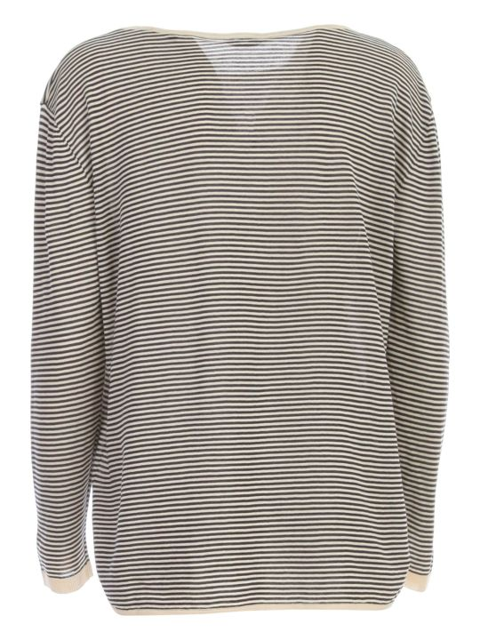 Aspesi Striped Knitted Sweater L/s Boat Neck