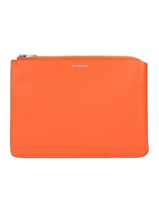 Acne Studios Malachite Clutch In Orange Leather