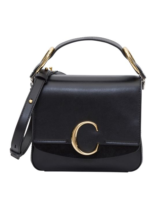 Chloé Chloe C Small Square Bag 22 X 19 X 8 Cm In Shiny And Suede Calfskin