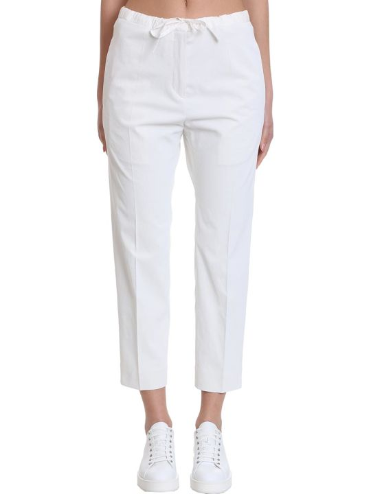 Jil Sander Drawstring Crop Pants In White Polyester