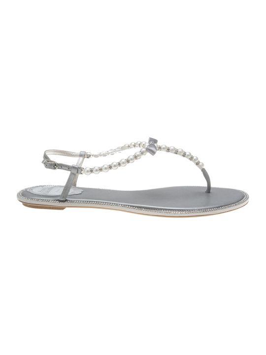 René Caovilla Silver Leather Amalia Flat Sandals