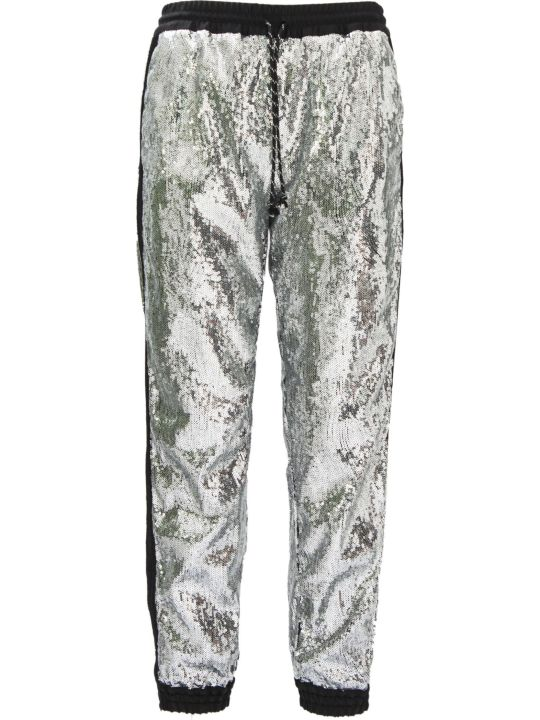 Christian Pellizzari Metallic Silver Regular Jogging Pants.