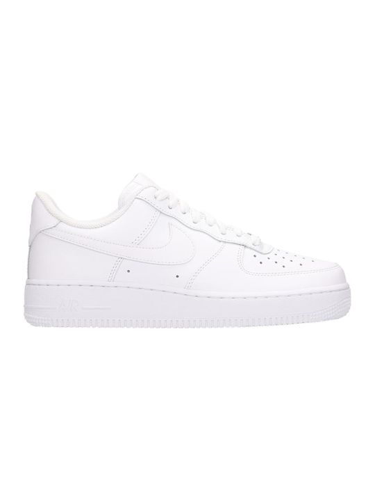 Nike White Leather Air Force One 07 Sneakers