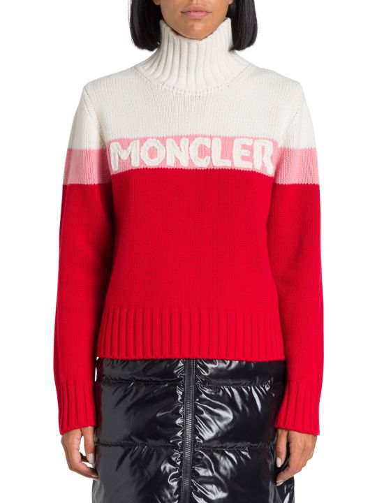 Moncler Turtleneck Sweater With Logo Intarsia