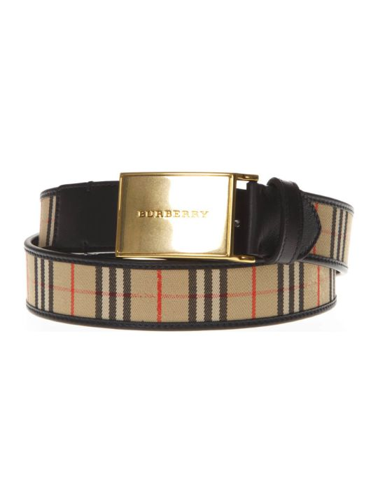 Burberry Plaque Buckle 1983 Check & Leather Belt