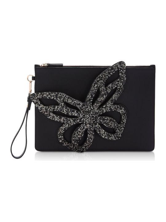 Sophia Webster Black Flossy Butterfly Pouchette