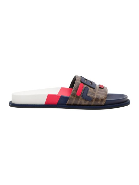 Fendi Multicolour Fabric Slides