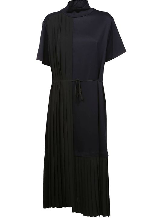 Jil Sander Navy Pleated Midi Dress