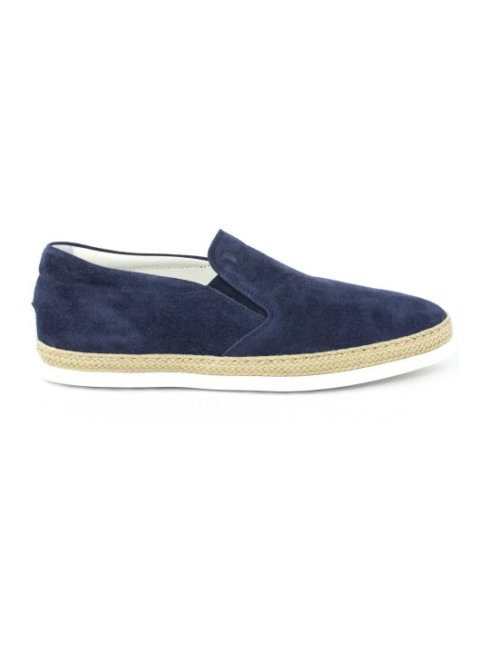 Tod's Slip-on Shoes In Blue Suede