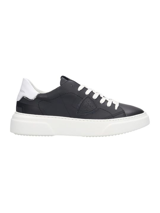 Philippe Model Temple S Sneakers In Black Leather
