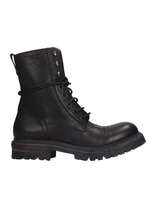 Roberto del Carlo Combat Boots In Black Leather