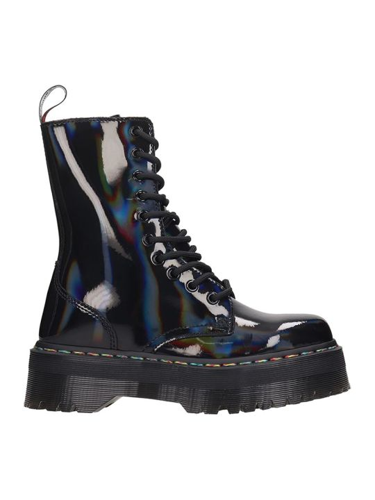Dr. Martens Jadon Hi Combat Boots In Black Patent Leather