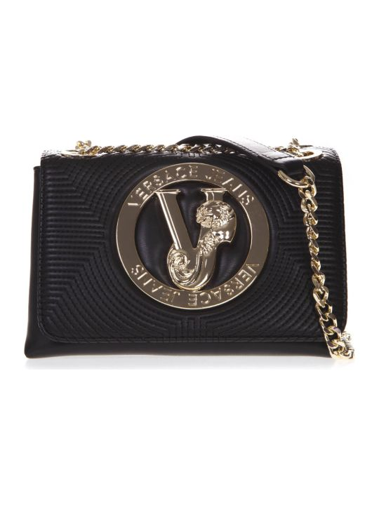 Versace Black Faux Leather Shoulder Bag With Logo