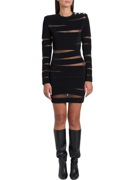 Balmain Cut-out Striped Dress