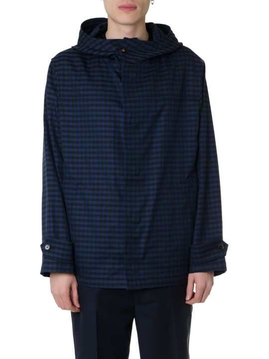 Marni Blue Cotton Blended Coat With Hood