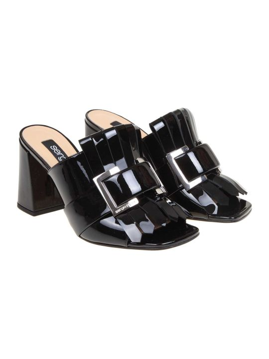 Sergio Rossi Sandal In Paint Color Black