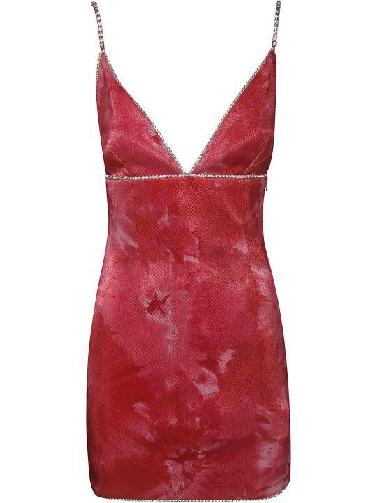 AREA Crystal Trimmed Structured Slip Dress