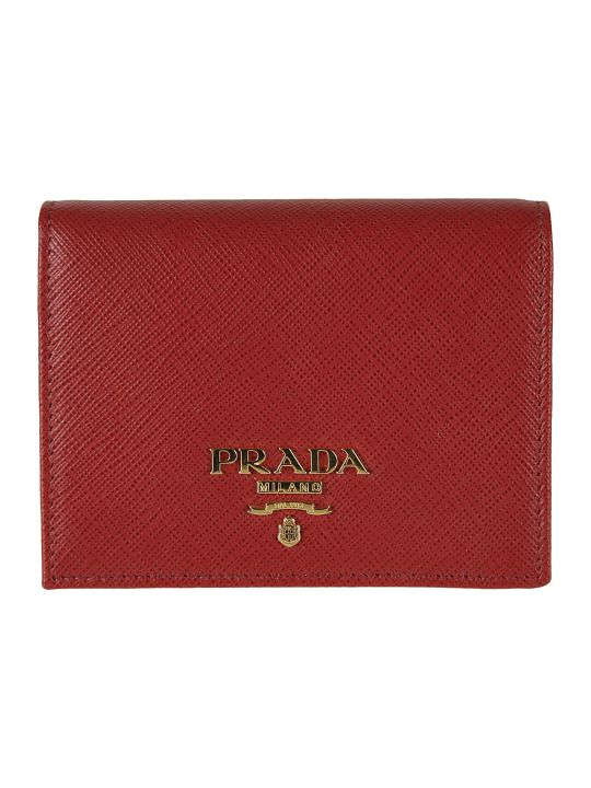 Prada Logo Detail Button-snap Wallet
