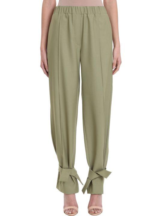 Maison Flaneur Green Wool Pants