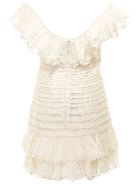 Zimmermann Super Eight Off Shoulder Mini Dress