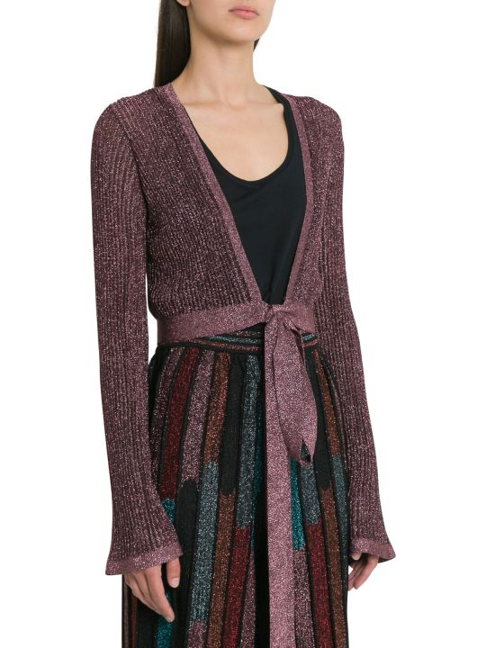 M Missoni Lurex Knit Shoulder Shrug With Ribbon