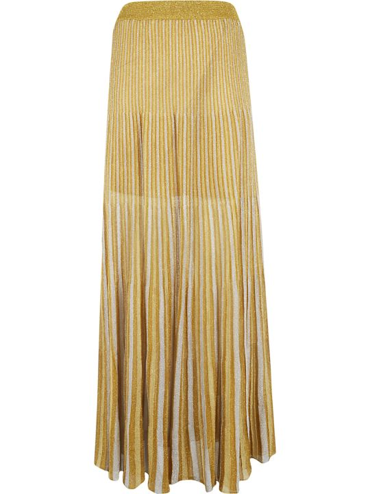 Happy Sheep Striped Print Long Pleated Skirt