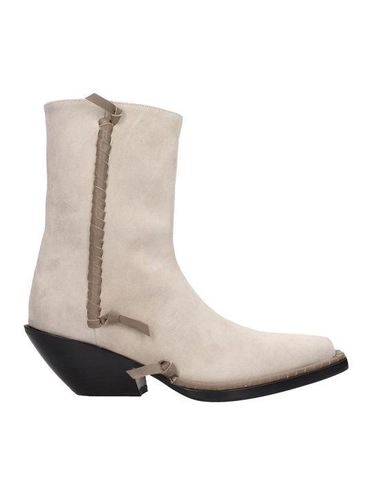 Acne Studios Breanna  Texan Ankle Boots In Beige Suede