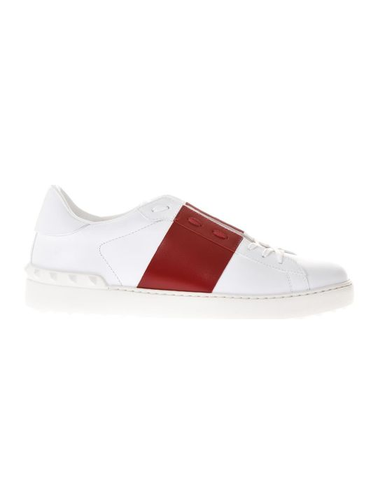 Valentino Garavani Open Low-top White & Red Leather Sneakers