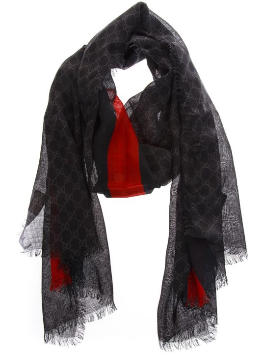 Gucci Black Wool All Over Gg Scarf