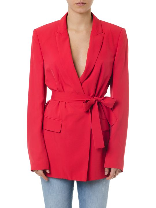 Dondup Red Viscose Single Breast Jacket