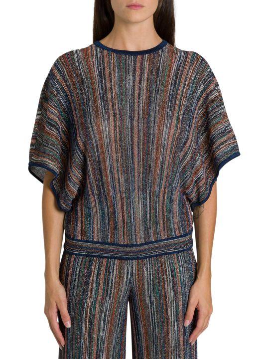 M Missoni Striped Lurex Knit Tee