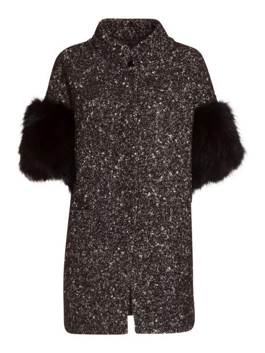 Bully Coat With Fur Sleeves In Black
