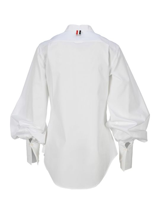 Thom Browne Solid Poplin Gathered Sleeve Shirt